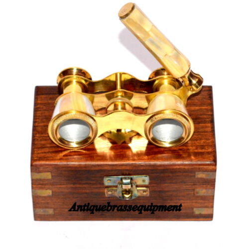 VINTAGE BRASS MOTHER OF PEARL BINOCULAR CLASSIC OPERA GLASSES WITH WOODEN BOX