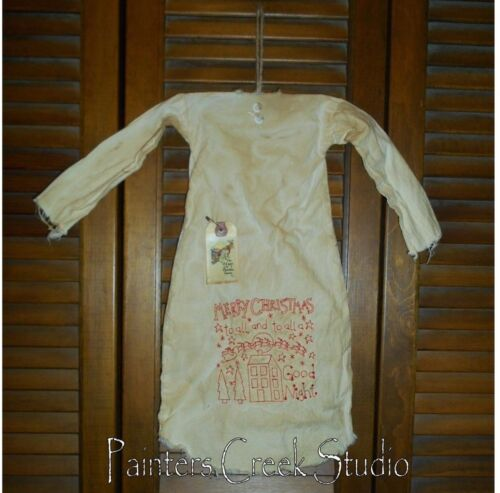 Primitive Decor MERRY CHRISTMAS TO ALL Nightshirt,Cupboard, Grungy,Prim, Santa