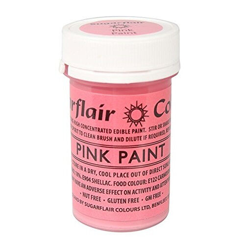 2 x Sugarflair Pink Edible Paint Cake Icing Matt Colour Sugarpaste Decorating
