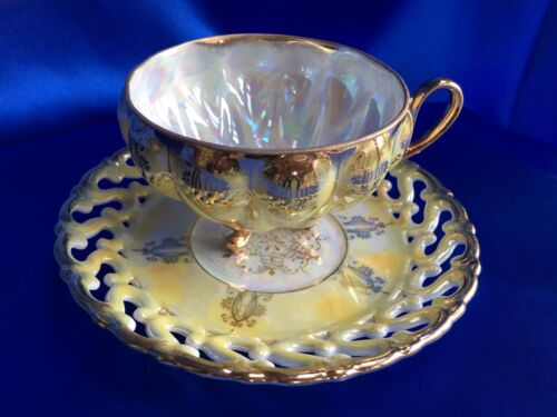 Royal Sealy China Yellow 3 Footed Teacup Reticulated Saucer Iridescent