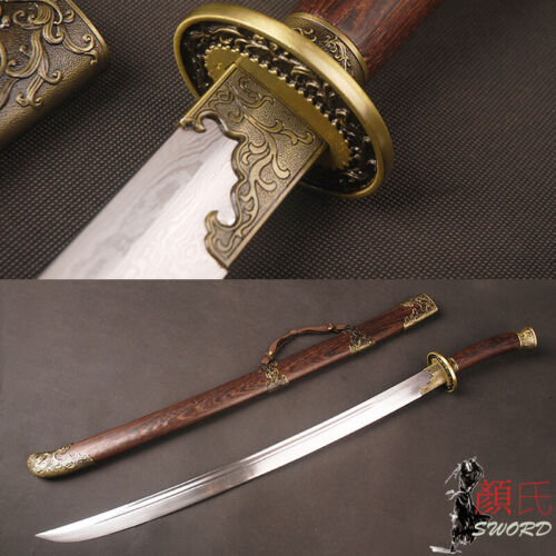 Chinese Sword  Phoenix Qing Dynasty Ox-Tailed Dao Folded Steel Rose wood Handle