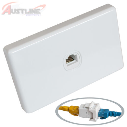 1 Port Gang Cat6 Wall Plate Clipsal Style 1 RJ45 Cat 6 Coupler F/F Jacks Aw1C6ff