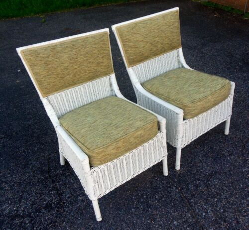 Pair Antique WICKER Chairs 1910's Cape Cod Hamptons Patio Deck Club Garden Chic