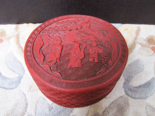 Antique Vintage Chinese Carved Cinnabar Lacquer Box Jewelry Dish