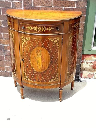 Antique Grand Rapids Curved Half table cabinet lady motif by Klode Furniture