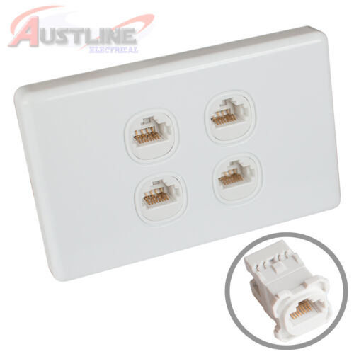 4 Gang RJ45 Cat6 Wall Plate Clipsal Style Network LAN 4Port +C-Clip Aw4C180