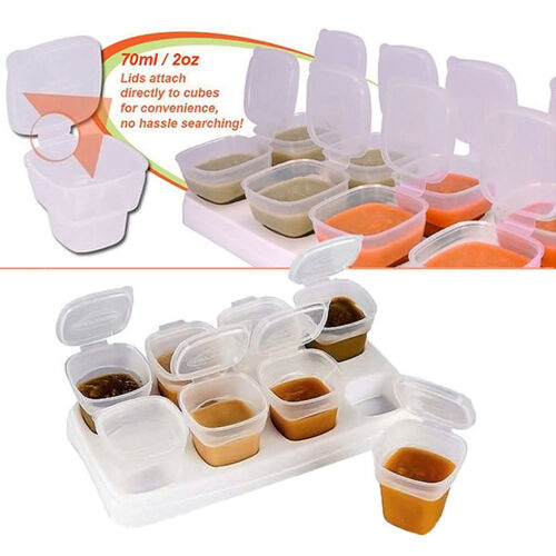 16pcs Baby Kids Weaning Food Freezing Cubes Tray Pots Storage Containers Box AU