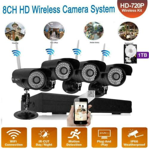 Wireless 4CH WiFi 1080P HD NVR Outdoor Night Vision Camera Home Security System