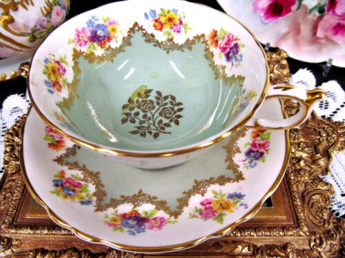 Pretty Paragon tea cup and saucer floral sage green pattern teacup gold gilt
