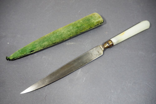 A QUALITY AND RARE ANTIQUES OTTOMAN JADE KARD HILTED KNIFE WHITE JADE