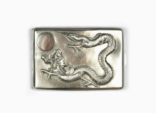ANTIQUE CHINESE EXPORT STERLING SILVER CIGARETTE CASE BOX DRAGON AND SUN