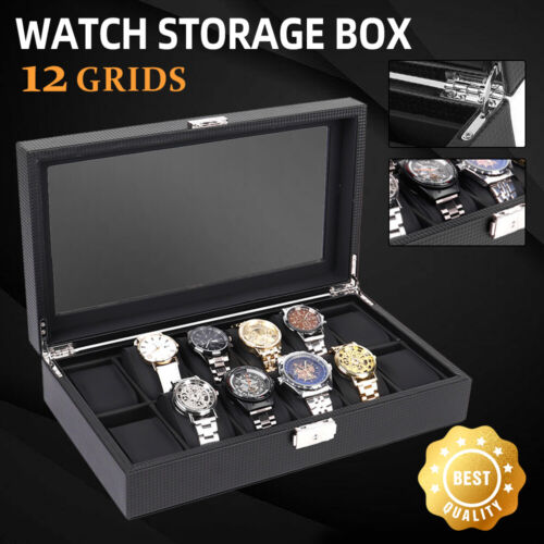 ❤️12 Grids Watch Box Carbon Fiber High-Grade Gift Storage Case Display Organizer <br/> Father's Day gift! ! ! High-end practical