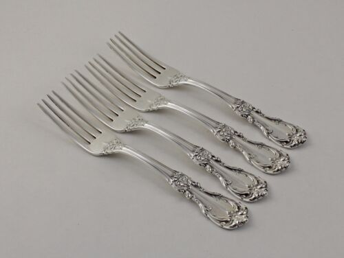 """Reed & Barton Burgundy Sterling Silver Place Forks - 7 1/4"""" - Set of 4 - No Mono"""