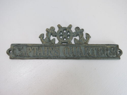 CAST IRON CAPTAINS QUARTERS MARKER SIGN TARNISHED BRASS LOOK NAUTICAL (B5C286)