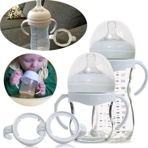2 Pcs White Baby Bottle Infant Grip Handle Avent Natural Wide Mouth Feeding Safe