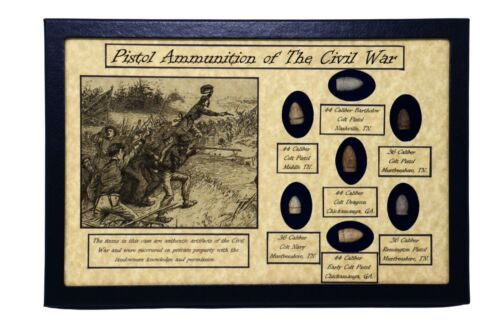 Pistol Ammunition Bullets of The Civil War with Display Case and COABullets - 103996