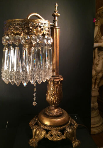 FINE ANTIQUE  VICTORIAN TABLE LAMP W/ LARGE NOTCH CUT CRYSTALS, EARLY 1900s