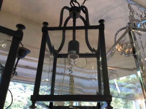 SMALL BRONZE ART DECO LANTERN FRENCH COUNTRY PENDANT 1 LIGHT CHANDELIER VINTAGE