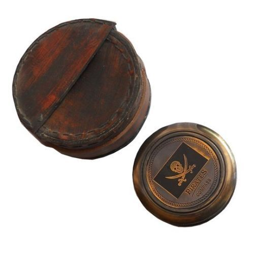 Made Vintage Style Nautical Antique Finish Pirates Compass WITH LEATHER gift