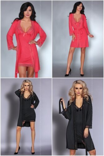 LIVCO CORSETTI Sancha Luxury Soft Satin Dressing Gown and Matching Chemise Set