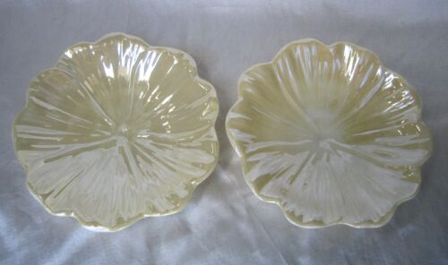 Belleek Porcelain Pair of Flower Petal Dishes with a Green Mark
