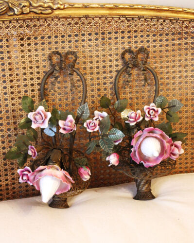 Reserved-Pair Antique French Bronze & Porcelain Roses Flower Basket Wall Sconce