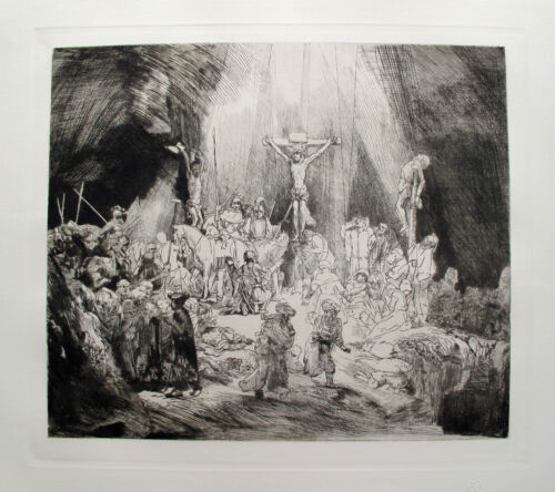 "REMBRANDT ""CHRIST CRUCIFIED BETWEEN TWO THIEVES"" Etching by Amand Durand"