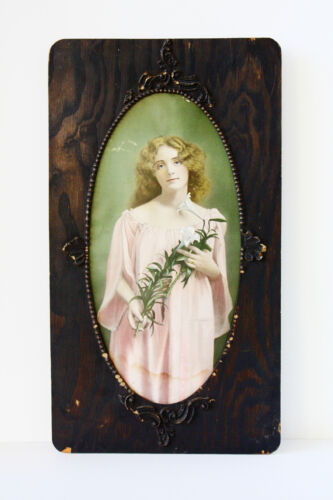 Antique Victorian Lithograph Incredible Ebony Wood Carved Frame