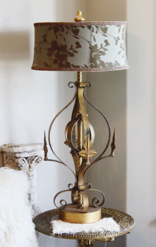 Antique Fleur De Lis Italian Tole Lamp Beautiful Vintage Large