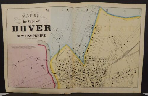 New Hampshire Strafford County Map City of Dover 1871 3 Maps Y14#89