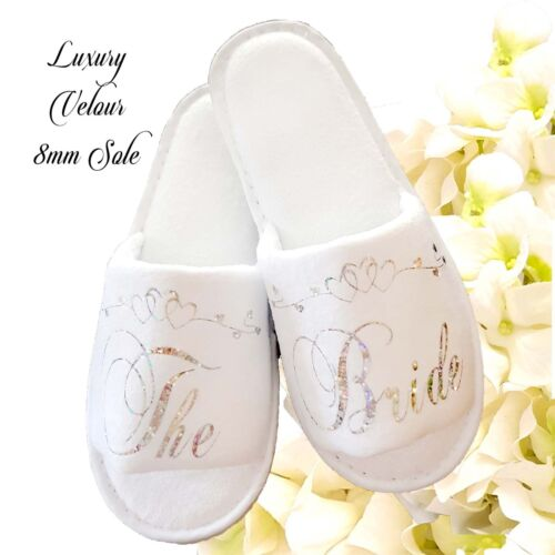 Bride Bridesmaid Bridal Slippers  Hen Wedding  Sparkling Silver & Heart Scroll <br/> Thick Luxury Velour 8mm Sole