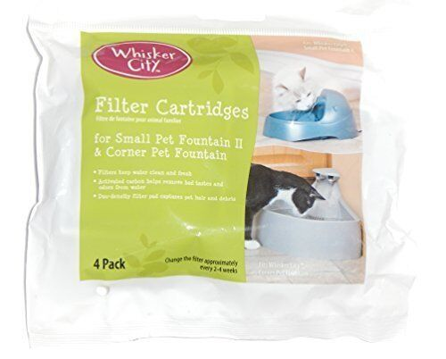 NEW Whisker City Corner Pet Fountain & Small II Filter Cartridges 4 Pads