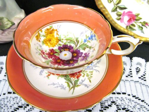 Paragon tea cup and saucer orange & floral pattern wide mouth teacup cup saucer