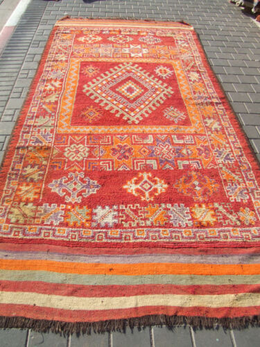 ORIGINAL ANTIQUE MOROCCAN WOOL CARPET RUG HAND MADE 330x143-cm/129.9x56.2-inches