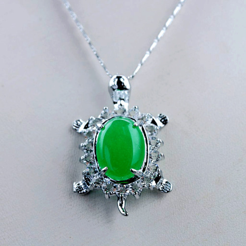 Exquisite Tibet Silver Inlaid Malay Jade Turtle Shape Necklace & Pendant