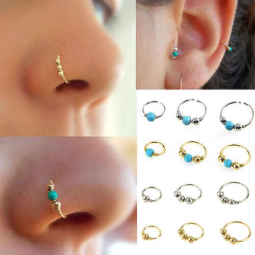 Unisex High Quality Thin Nose Ring Hoop Fake Body Piercing Jewellery Silver