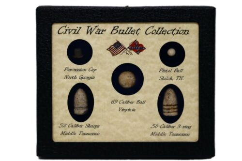 Original Civil War Bullets Relics in Matted Display Case (5 Piece) with COABullets - 103996
