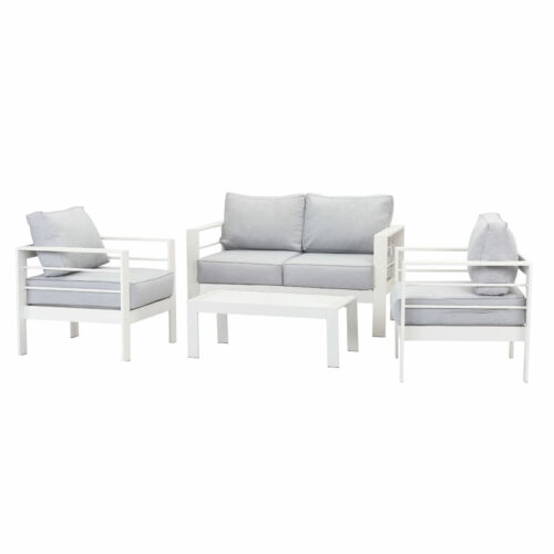 New Outdoor Sofa Lounge Furniture Setting White Aluminium 4PC table chairs <br/> SGS TESTED | SAME DAY DISPATCH | 3 YEARS WARRANTY |