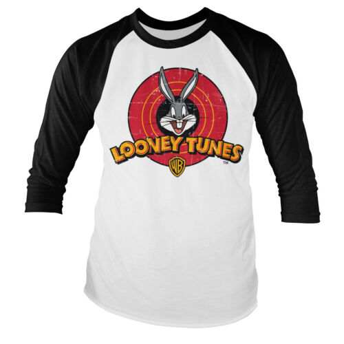 Officially Licensed Looney Tunes Distressed Logo Baseball Long Sleeve T-Shirt