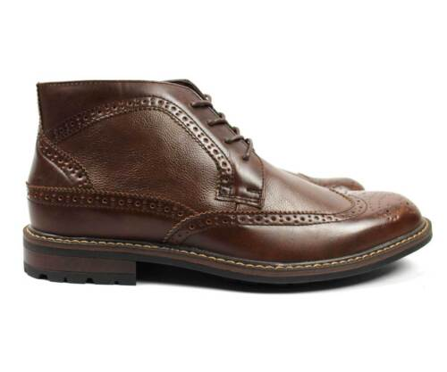 Men's Ankle Dress Boots Wing Tip Lace Up Leather Lining Bonafini Luciano D-512