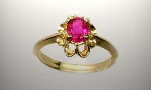 Gold Ruby Ring Siamese Antique 19thC ¾ct Near Flawless Medieval Royalty Gem 14kt