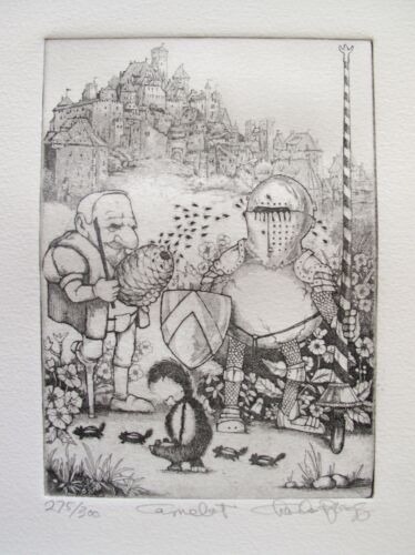 """CHARLES BRAGG """"CAMELOT"""" Hand Signed Limited Edition Art Etching CAMELOT SERIES"""
