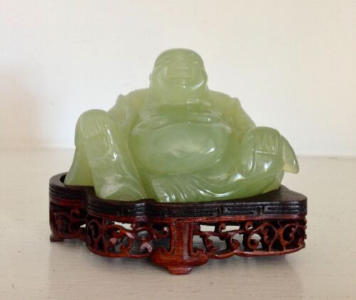 Old Vintage Chinese Green Hard Stone Smiling Happy Buddha ~Fine Original Stand~
