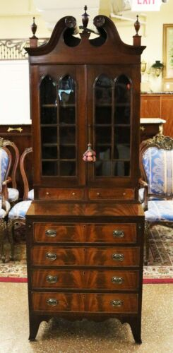 Best FULL BONNET Custom 1920s RESTORED Mahogany Diminuitive Secretary Desk MINT