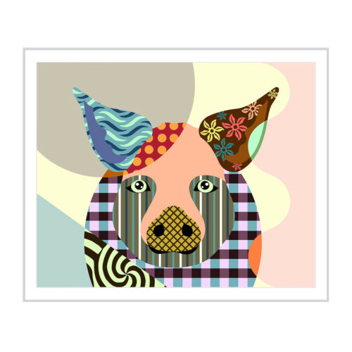 Art Pig Print Painting Decor Wall Poster 8x10 Colorful Animal Portrait Gift