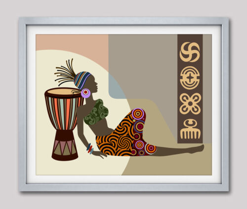 African Queen Art Print American Black Woman Djembe Decor Gift Painting Poster