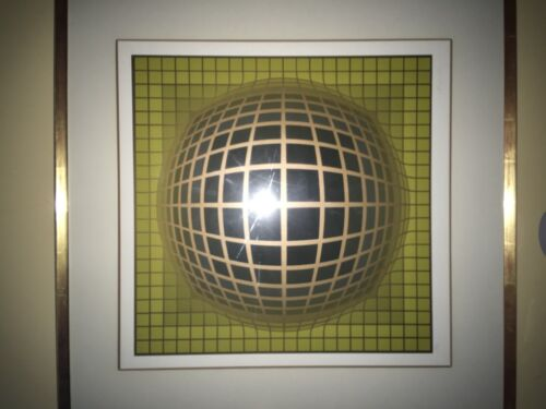 """VICTOR VASARELY OP ART SERIGRAPH """"VEGA IN GOLD"""" LIMITED EDITION PRINT SIGNED"""