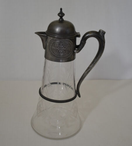 ART NOUVEAU PEWTER ETCHED GLASS CLARET/JUG