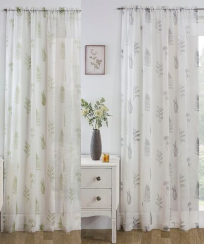 BRACKEN VOILE Panel Leaf Design Net Curtain Slot Top Heading