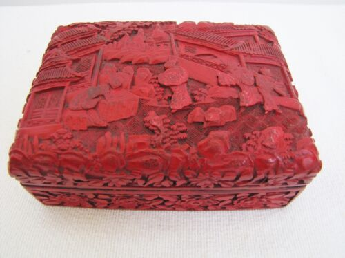 Antique Chinese Chinese Export Red Cinnabar Lacquer Box